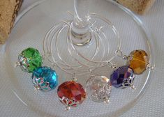Swarovski Crystal Wine Charms Set of 6 by DeliBejeweled on Etsy Wine Glass Markers, Wine Glass Crafts, Wine Craft, Bead Crafts, Jewelry Crafts, Wine Ring, Ideas Hogar, Painted Wine Glasses, Wine Charms