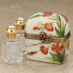 Limoges Poppies Perfume Chest Box with Perfume Bottles Limoges Boxes France