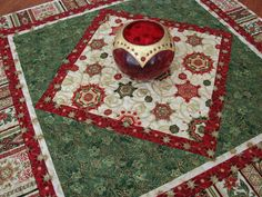 Elegant Christmas Quilt Table Topper or Wall Hanging by susiquilts