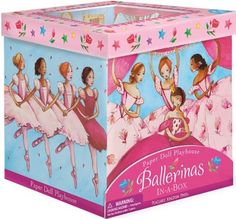 """Peaceable Kingdom / Ballerinas In-A-Box Paper Doll Playset by Peaceable Kingdom Press. $11.74. Complete with paper dolls, accessories and stickers; Open the box and unlock hours of imaginative pretend play; For ages 4 years and older; Opens to 12"""" x 29"""" x 7.5""""; A playhouse and paper doll set in one. A complete playset in one box, including 4 stand-up paper dolls, 28 reusable vinyl outfits, 50+ ballet accessories, fold-out trellis, dance studio mirror, stand-ip arc..."""