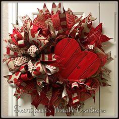 Valentine's Day deco mesh wreath with Terri Bow by Twentycoats Wreath Creations (2017)