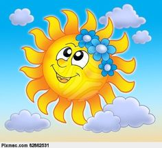 Picture Of Smiling Sun With Flowers On Blue Sky