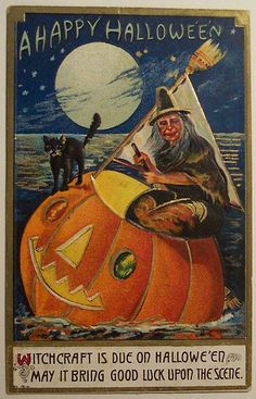 "Postcard: ""Witchcraft is due on Hallowe'en. May it bring good luck upon the scene"""