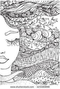 hand drawn ink doodle womans face and flowing hair on white background. Coloring page - zendala, design for adults, poster, print, t-shirt, invitation, banners, flyers.