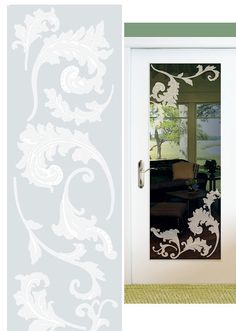Scroll Etched Glass Peel and Stick Wall Sticker - Wall Sticker Outlet