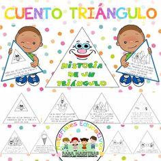 Educativo cuento de un triangulo para aprender las figuras geométricas en preescolar e infantil. Un juego de fichas para enseñar las figuras geométricas. Los niños aprenden como dibujar las figuras en dos dimensiones.