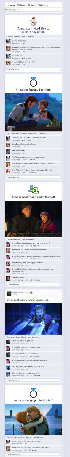 If Frozen characters had Facebook.
