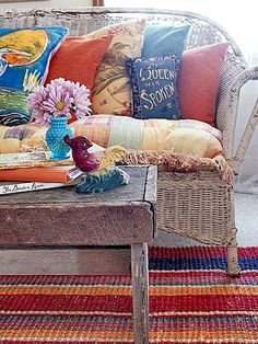 this wicker is pretty ratty, but it shows how perfect a thing a ratty wicker couch can be