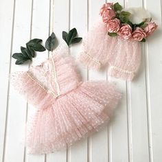 Baby girl photo prop outfit made from soft Tull and lace. Blouse and short pants and matching flower bow headband.