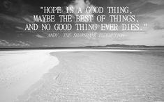 """""""Hope is a good thing, maybe the best of things, and no good thing ever dies."""" -Andy, The Shawshank Redemption"""