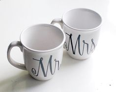 custom mr. and mrs. coffee mugs - last name and wedding date on handle - set of two (2) black and white hand painted design on Etsy, $60.00