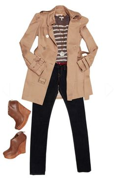 Trench+Jeans combo
