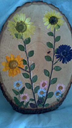 Pressed Daisies Flower Art on Oval Basswood by FlowerFelicity, $39.99