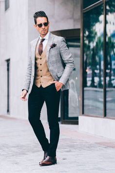 Suited, Suits, Mens Fashion, Mens Style, Fancy Menswear, Dapper, Outfits, Three Piece Suits, Light, Leather Shoes, Pocket Squares, Grey Jackets, Black Pants, Brown Shoes.