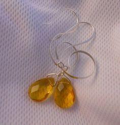 Beaten Silver EarringsHoney Faceted Glass by JoJosgems on Etsy, $19.00