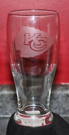 Kansas City Etched Chiefs KC Beer Glass 19 oz #Unbranded