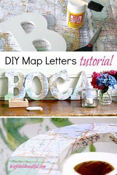 DIY Map Letters Tutorial, DIY and Crafts, Don't discard those travel maps quite yet. Make these fun DIY Map Letters. The whole family can take part in this super easy Summer craft project. Cool Diy, Fun Diy, Easy Diy Projects, Craft Projects, Map Crafts, Travel Crafts, Crafts With Maps, Diy Karton, Diy Wall Art