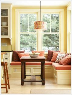 The light hues of each analogous color in this room give off a warm summery feeling. The dominating yellow color is bright and and gives feelings of curiously and youth