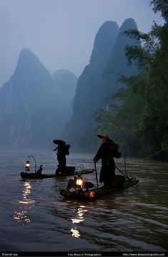 Fishermen on the Li river, Guilin. The Cormoran fishermen and misty hills of southern China are one of the most famous impressions of the Middle Kingdom.  #DarrellLew http://djlewphotography.com/