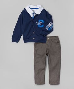 Another great find on #zulily! Navy Cardigan Set - Infant #zulilyfinds