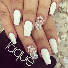 Matte white nailpolish with white floral touch
