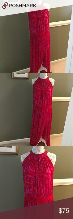 MICHAEL KORS MAXI DRESS Beautiful Art Deco paisley print flowing dress. It's pink, red and outlined in black. Hidden zipper in back. A sexy spilt in the front on the leg. A waistband for a flattering fit. Made of polyester and elastrane material.    NWT MICHAEL Michael Kors Dresses Maxi