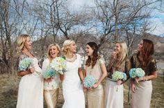 Gold and Cream bridal party. Eliza and Josh Newbold – wedding » Blush Photography
