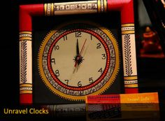 This clock is embellished with traditional Warli motifs, a tribal art from Maharashtra. It is mounted on a wooden board and painted in classic red and black. All this makes this square shaped clock the perfect one for your drawing room.