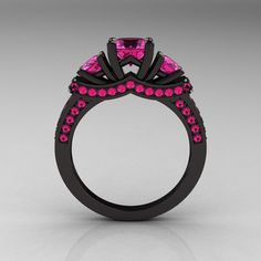 French 14K Black Gold Three Stone Pink Sapphire Wedding Ring, Engagement Ring R182-14KBGPSS - I would never want this but it's just so cool looking I had to pin it