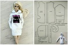 How to Crochet a Basic Doll - Crochet Ideas Sewing Barbie Clothes, Barbie Sewing Patterns, Doll Dress Patterns, Sewing Dolls, Diy Clothes Patterns, Shirt Patterns, Doily Patterns, Accessoires Barbie, Barbie Accessories