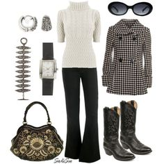 Cute Fall Style--haven't embraced the boots yet, but i'm liking them more and more (i hear cowboy boots are really comfy too-so says a fellow teacher)