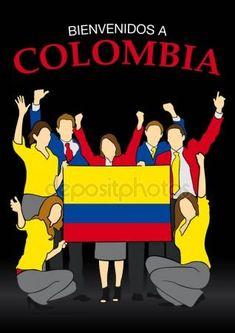 Bienvenidos a Colombia - Bienvenidos a Colombia en idioma español-Grupo de personas vestidas con los colores de la bandera de Colombia, saludando con las manos y sosteniendo la bandera - Vector de la imagen Vector De Stock