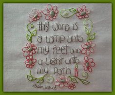 """Free embroidery by Jenny of Elefantz - an instant pdf download! """"Thy Word Is A Lamp"""""""