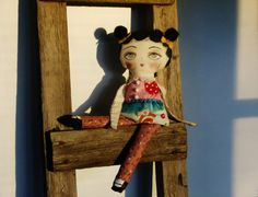Toad Stool Girls Art Doll, Rag Doll, Cloth Doll, hand Painted  By: A Curious Twirl