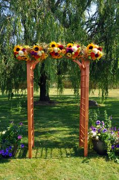 different flowers but would be great to have an arch for wedding ceremony that we could later move to our home garden :]