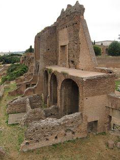 -Domus Severiana- O emperador Septimius Severus (193-211 d.C.) levou de novo a Roma a un periodo de esplendor. Restaurou a residencia imperial do Palatino pero quixo construir unhas novas dependencias. Como non había espacio tivo que facer unha gran esplanada artificial que ocupou esta parte do Palatino.