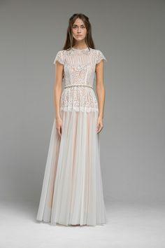 Romantic Blush Lace Wedding Dress 'Mirabelle' from Katya Katya Shehurina