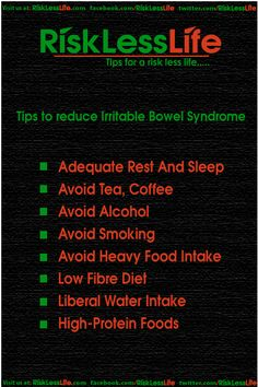 Tips to reduce Irritable Bowel Syndrome http://risklesslife.com/tips-reduce-irritable-bowel-syndrome/
