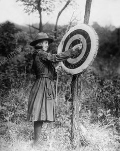 Girl Scout With Archery Target Vintage 8x10 Reprint Of Old Photo