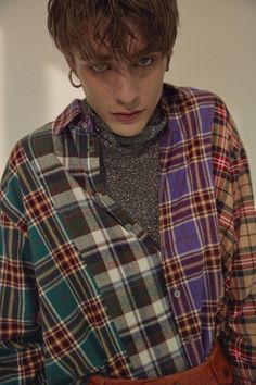 Ordinary People Check Combi Purple Collar Shirt │Curated Collections of Global Independent Designers Beautiful Boys, Pretty Boys, Beautiful People, Skam Isak, Isak & Even, Maxence Danet Fauvel, Mode Man, Cute White Boys, Aesthetic People