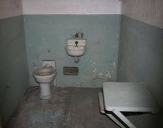 Toilet in a cell in Alcatraz prison, California, U.S.A.