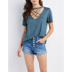 Charlotte Russe Lattice Cut-Out Tee ($12) ❤ liked on Polyvore featuring tops, t-shirts, teal, crew neck tee, blue t shirt, embellished tee, blue tee and short sleeve t shirt
