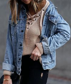 knit lace up with denim