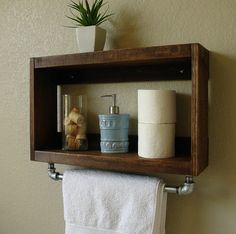 "Industrial Rustic Bathroom Shelf With 18"" Metal Towel Bar (5.5"" Deep Shelf)"