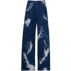 Dsquared2     Maculato Wash Jazz Jeans (9.610.130 IDR) ❤ liked on Polyvore featuring jeans, dsquared2, jean, blue, dsquared2 jeans, low rise wide leg jeans, blue jeans, wide leg jeans and bleached blue jeans