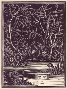 """Woodblock by Bold for De la Mare's """"Broomsticks & Other Tales"""""""