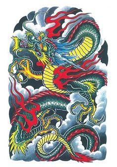 Dragon Tattoo Colour, Dragon Tattoo Art, Chinese Dragon Tattoos, Dragon Tattoo Designs, New Dragon, Asian Tattoos, Samurai Tattoo, Tiger Tattoo, Wolf Tattoos