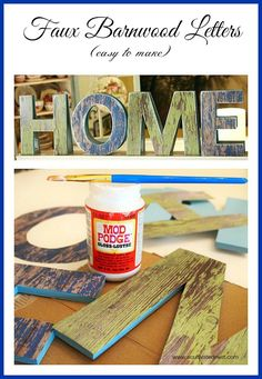 Turn craft letters into look-a-like barnwood letters. Cute and super easy!