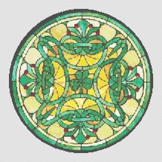 Counted Cross Stitch Pattern Shamrock Celtic Knot Stained Glass cs0595