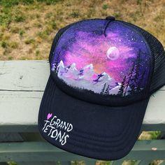 d2b63610be5 Handpainted trucker hat   tree painting   custom painted SnapBack   one of a  kind   grand tetons